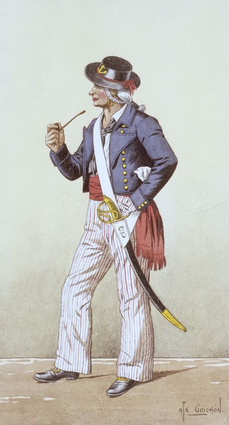 '1793 - Matelot de la Revolution (uniform)', lithograph by A. Goichon, 1937